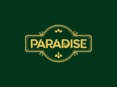 Paradise door garden lock entry secret agent wood leaf logo femenine vintage botanic flower logo flower logo paradise