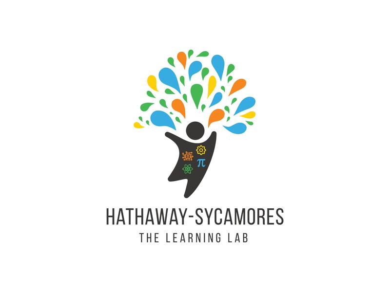 Hathaway-Sycamores Rebrand silhoutte learner kids tree jumping hathaway organization school lab tech logo highschool education educational learn learning logo