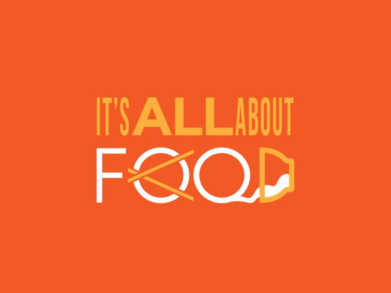 It's ALL about FOOD typography hungry eat warm custom typo custom design orange vector type art food  drink typo logo taller minimal typo logo food and beverage food