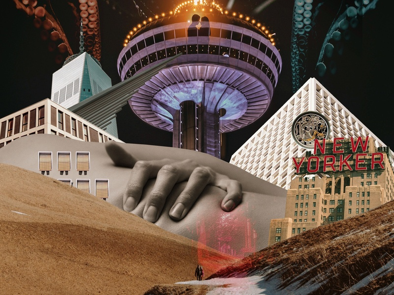 A Long Way Home tropical color print octopus city building artist artworks edition handmade contemporary art surrealism surreal design vector illustration art collage artwork
