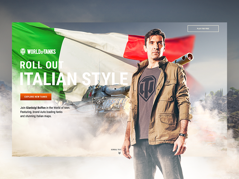World of Tanks – Roll out Italian style! wargaming wot visual design ux ui campaign webpage web design italy tanks buffon football