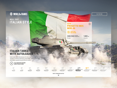 World of Tanks – Italian tanks wot webpage web design wargaming visual design ux ui tanks italy football campaign buffon