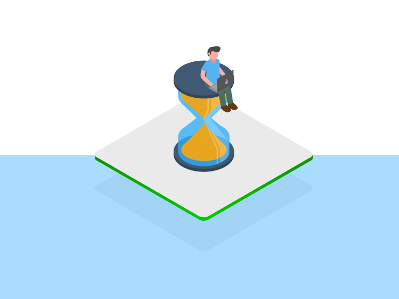 WHY NOW- Isometric Illustration laptop glass hour time illustration isometric