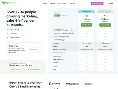 NinjaOutreach New Pricing Page pricing page pricing plan pricing table pricing ninjaoutreach