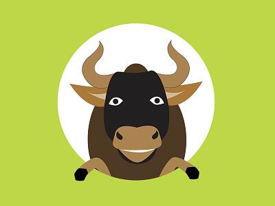Happy Bull editorial illustration animal flat smiling bull character cute