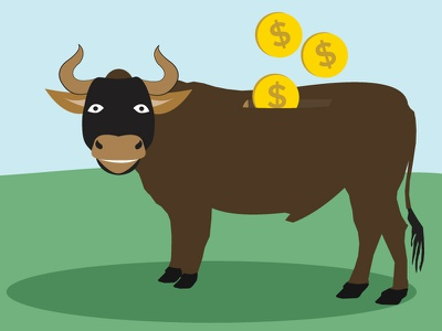 Flat Bull - Saving Money drawing flat coins farming illustration bull