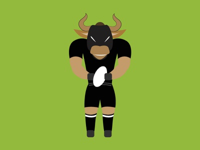 Bull Rugby Player angry ball illustration player rugby character flat