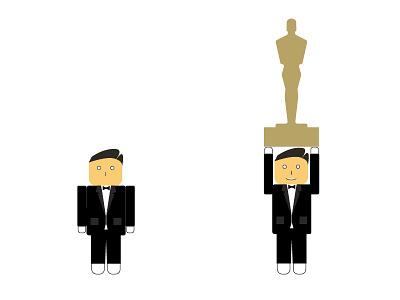 Leonardo DiCaprio after winning his first Oscar illustration flat award academy revenant the oscar dicaprio leonardo
