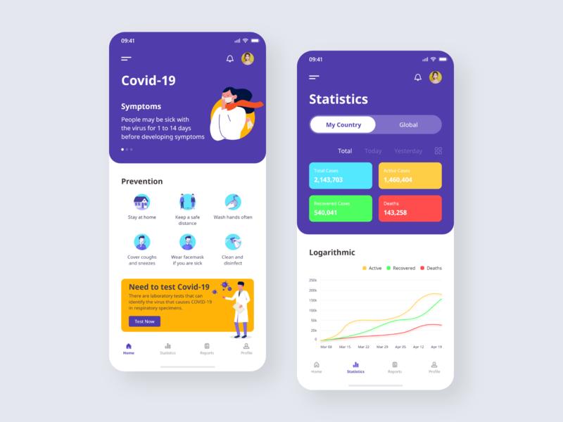 Covid-19 icon tracker health ios typography minimalist minimal clean medical vector coronavirus android design app ui ux dashboard dribbble