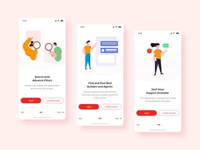 Property Search Onboarding Screens property onboarding intraction search home ux design dribbble illustration onboarding screens app design ui  ux realestate app onboarding app interaction ui