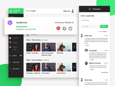 Language Tutor - Dashboard learning education language tutorial language - tutor dashboard