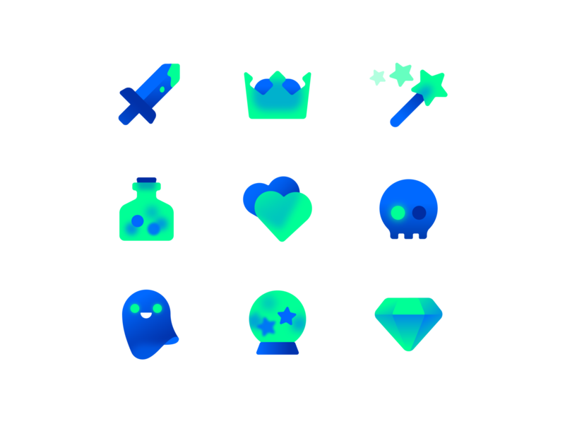 Game Icons game witchcraft diamonds skull poison potion elixir magic wand magic swords sword heart set icons