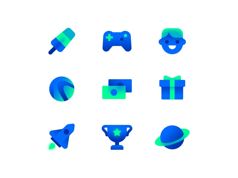 Game Icons 2 win game ice cream joystick gamepad winner cup rocket space planet icon set icon money player