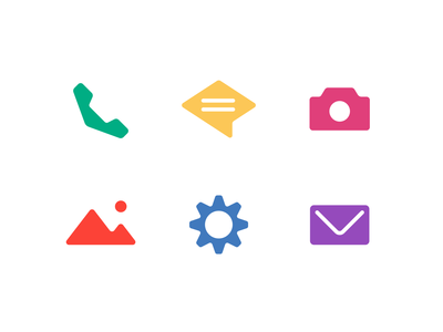 Polygonal Icons diamond set letter camera photos gallery chat message gear settings envelope post office telephone icons pack icon icons set