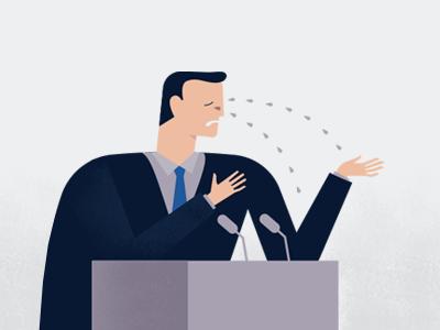 Politician politician tears weeps tribune excuse costume speech speaker illustration problems false lying