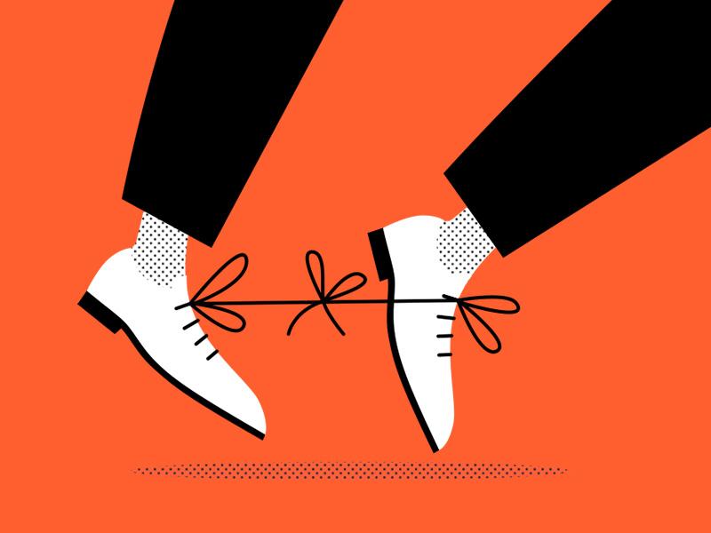 Error! mistake error boots stumbled shoelaces set-up traitor man fall shame costume deceit