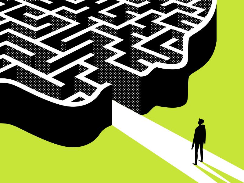 Brain Traps shadow shine illusion unexplored man labyrinth deceit road way human trap brain
