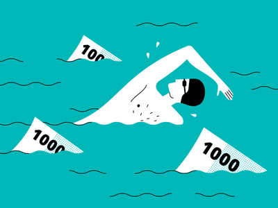 Money — sharks man ruble pool swimming water currency note dangers swimmer sea shark money