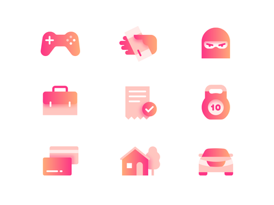 Pink Icons documents car home credit card gamer game joysticks icons set finance money thief set icons