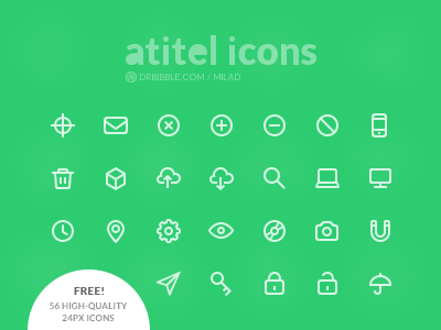 Free Icon Set [1] - 56 High-Quality Icons icon set design psd photoshop free freebies outline 24px icon design v1 high quality flat icon