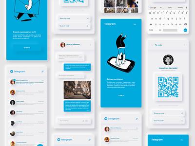 Telegram Redesign concept - Neumorphism white uidesign ui telegram smart neumorphism neumorphic mockup mobile messaging message illustration encrypted design chat application apple app