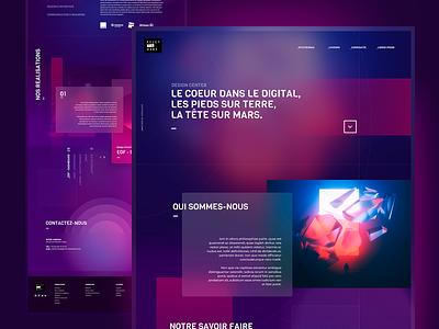 Agency Website redesign redisign mockup desktop digital violet dark light blur landing page landing blade studio neon ux ui art direction art design website agency