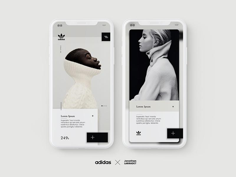 Jonathan Larradet 64 shop nike mockup mobile e-commerce cart card apple app adidas