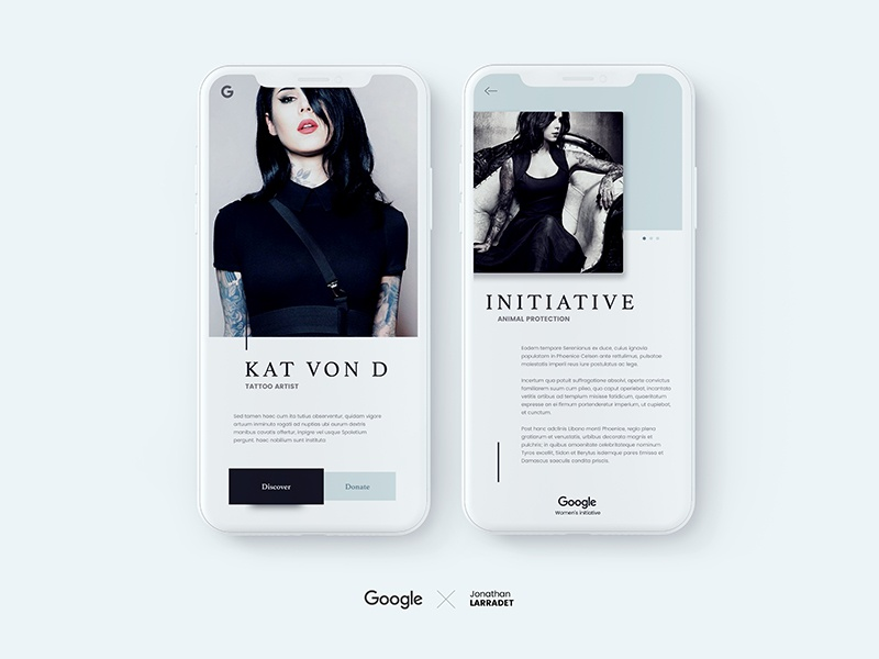 Google's women initiative concept in Iphone X shop tattoo mockup mobile women cart card apple app google