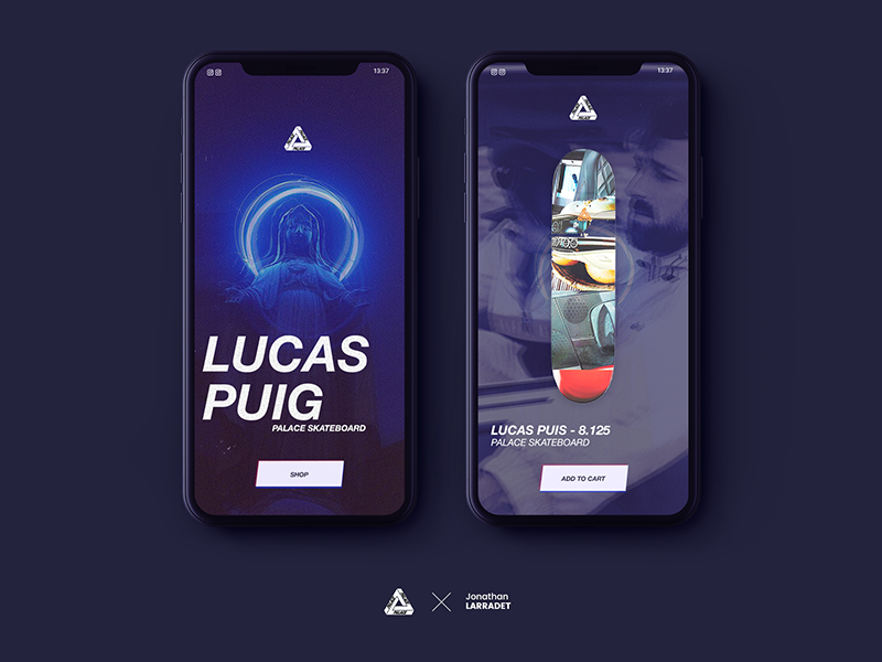 Palace Skateboard concept with Lucas Puig shop nike mockup mobile palace e-commerce cart card apple app