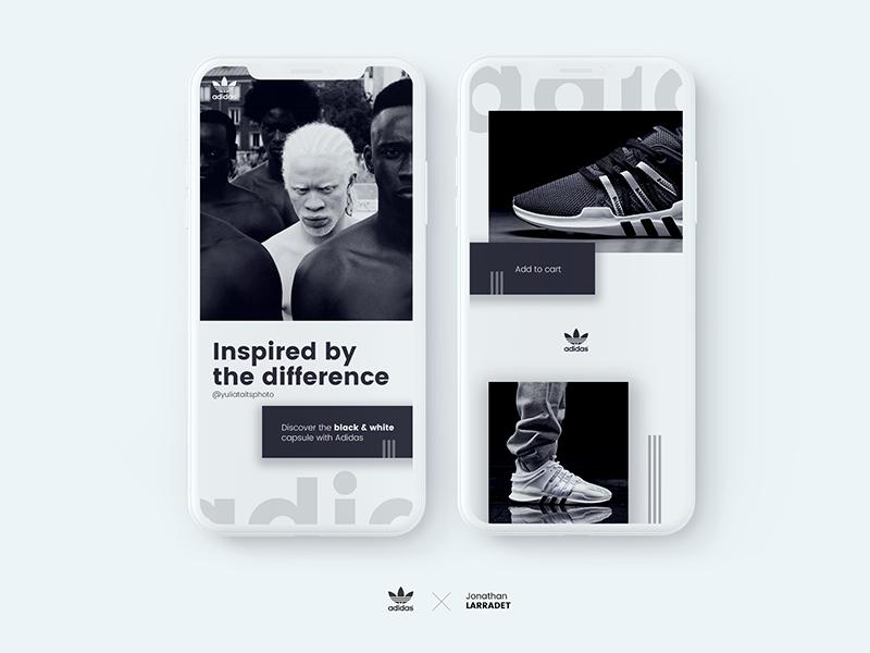 Adidas AQT - ADV black & white Design concept white black sneakers iphone x app ecommerce cart adidas apple