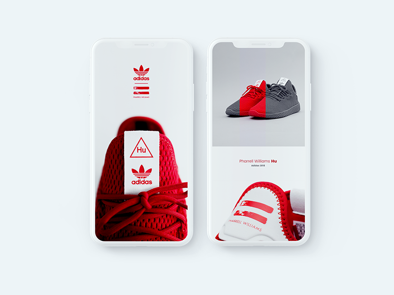 Adidas Pharrell Williams Hu collection mockup mobile ecommerce iphone app shoes red adidas sneaker