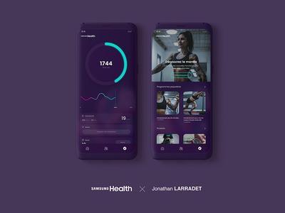 Samsung Health Redesign aab sport charts design mobile women tattoo mockup fit health samsung app