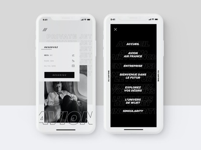 My 100th post (repost) aab private black and white apple ui reservation plane mobile iphonex art direction art app
