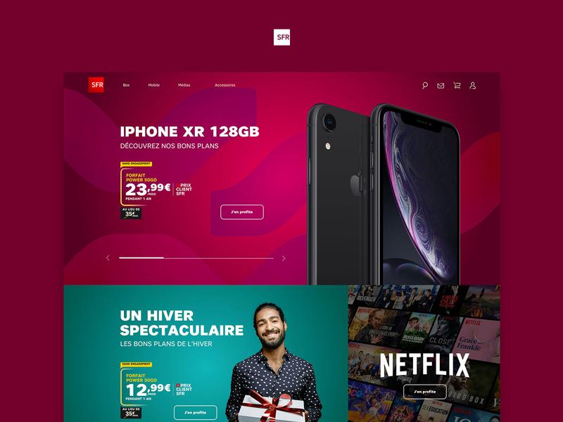 SFR website redesign concept aaa ui internet commerce marketplace shop ecommerce uidesign art direction netflix iphone phone concept redesign website