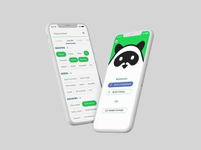 Register & home screen kawaii cute racoon sketch application design register home app design mobile ui mobile design ux ui application app