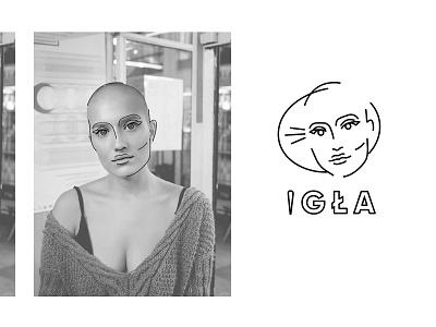 Igla Logotype black and white logo permament makeup tattoo needle igla