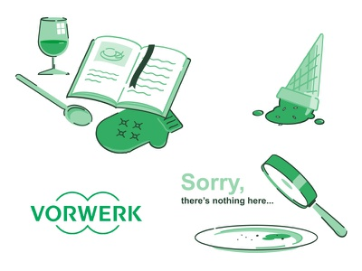 Vorwerk illustrations cone ice cream magnifying glass plate 404 cookbook food illustrations thermomix vorwerk