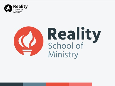 Reality School of Ministry torch fire college school ministry church logo design logo
