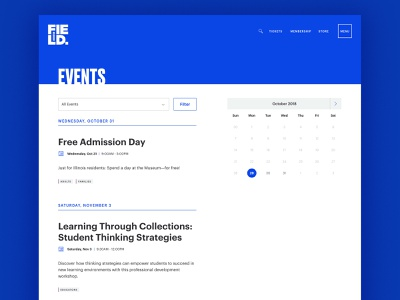 Field Museum - Event Calendar ux event page museum calendar web design design ui