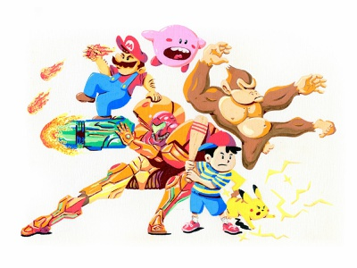 SMASH video games marker hand drawn nintendo illustration posca pikachu ness kirby donkey kong mario super smash bros.