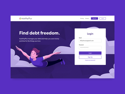 Financial Wellness App Login Screen product illustration illustration user interface user experience purple branding login login screen login flow fintech finance