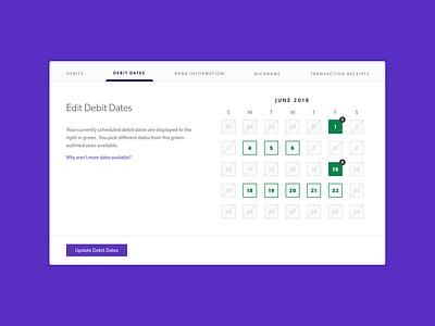 Edit Dates UI interaction calendar fintech finance ux ui design ui interaction