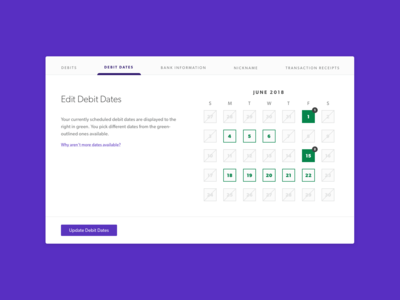 Edit Dates UI interaction calendar fintech finance ux ui design ui interaction