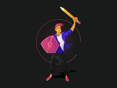PRPL Site Illustration - Content fantasy neon mid-century sword shield pencil designer knight content design illustration