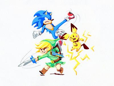 Smash Vol.2 orlando illustration video game art posca videogame pichu link sonic