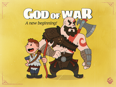 God of War - Old cartoon style old cartoon hero character design illustration 30s retro playstation atreus kratos god of war