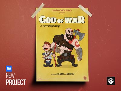 God of War - Old cartoon style [PROJECT UPDATE] god of war kratos atreus playstation retro 30s illustration design character hero old cartoon