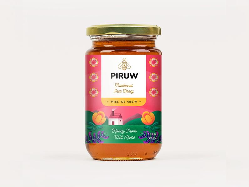 Traditional Inca Honey - Packing flower branding design peru eco packaging honey bee branding logo typography 2d texture photoshop illustration designinspiration dribbble