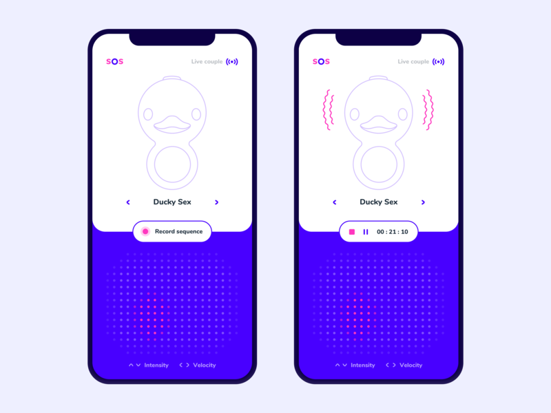 Sex Toy mobile uiinspiration app appdesign userinterface peru ux couple live sequence record duck remote control control vibration sextoy dribbble designinspiration design ui