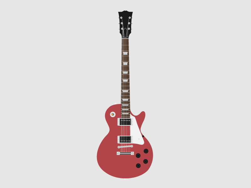 Gibson Les Paul Electric Guitar Illustration By Alex Johnson